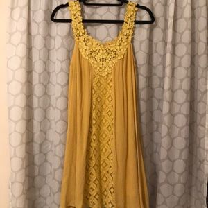 Dresses & Skirts - Yellow floral lace sleeveless dress